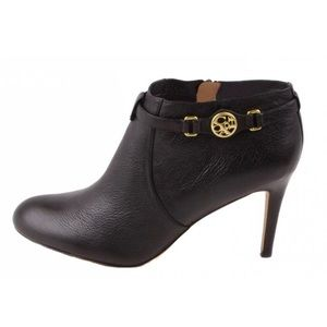 Coach Black Leather Heeled Booties